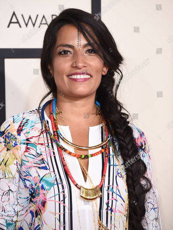 Ana Tijoux arrives at the 57th annual Grammy Awards at the Staples Center, in Los Angeles