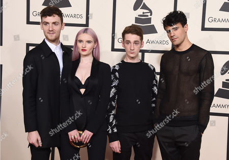 Jack Patterson, from left, Grace Chatto, Luke Patterson, and Milan Neil Amin-Smith of Clean Bandit arrive at the 57th annual Grammy Awards at the Staples Center, in Los Angeles
