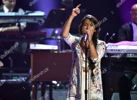 Ana Tijoux performs at the 57th annual Grammy Awards, in Los Angeles