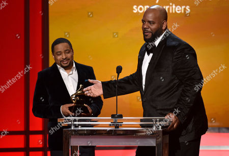 Smokie Norful, left, and Aaron W. Lindsey accept the award for best gospel performance/song for No Greater Love at the 57th annual Grammy Awards, in Los Angeles
