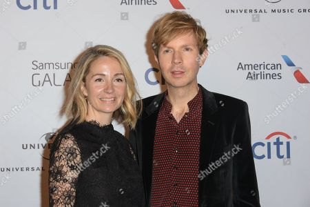 Beck, right, and Marissa Ribisi arrive at The 57th Annual Grammy Awards - Universal Music Group Grammy After Party, in Los Angeles