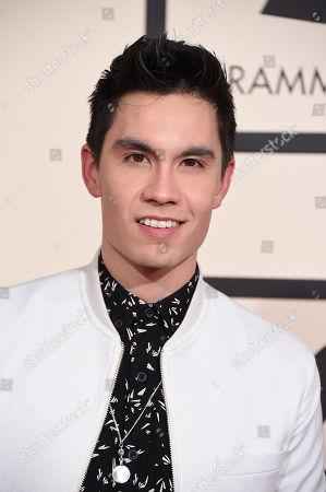 Sam Tsui arrives at the 58th annual Grammy Awards at the Staples Center, in Los Angeles