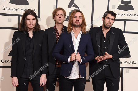 Dominic Simper, from left, Jay Watson, Kevin Parker, and Camaron Marvel Ochs Avery of Tame Impala arrive at the 58th annual Grammy Awards at the Staples Center, in Los Angeles