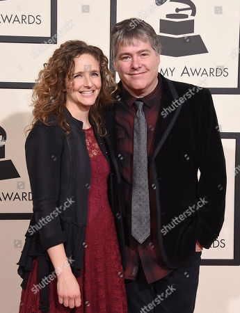 Abigail Washburn, left, and Bela Fleck arrive at the 58th annual Grammy Awards at the Staples Center, in Los Angeles