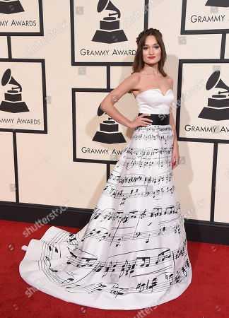 Diana Gloster arrives at the 58th annual Grammy Awards at the Staples Center, in Los Angeles