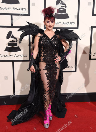 Jacqueline Van Bierk arrives at the 58th annual Grammy Awards at the Staples Center, in Los Angeles