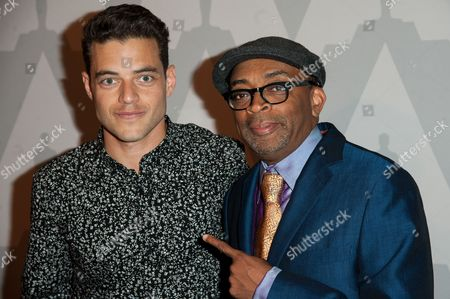 "Spike Lee, right, and Rami Malek arrive at The Academy Celebrates the 25th Anniversary of ""Do The Right Thing"" held at the Bing Theater, in Los Angeles"
