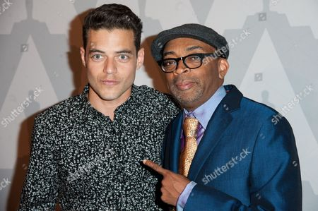 "Spike Lee, left, and Rami Malek arrive at The Academy Celebrates the 25th Anniversary of ""Do The Right Thing"" held at the Bing Theater, in Los Angeles"