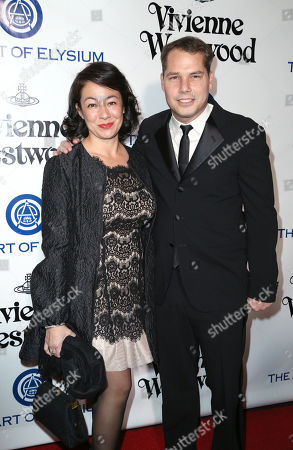 Amanda Fairey, left, and Shepard Fairey arrive at The Art of Elysium's Ninth annual Heaven Gala at 3LABS, in Culver City, Calif