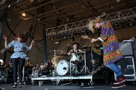 Hannah Hooper, Ryan Rabin, and Christian Zucconi of Grouplove performs during The Big Ticket at Jacksonville Metro Park, in Jacksonville, Fla