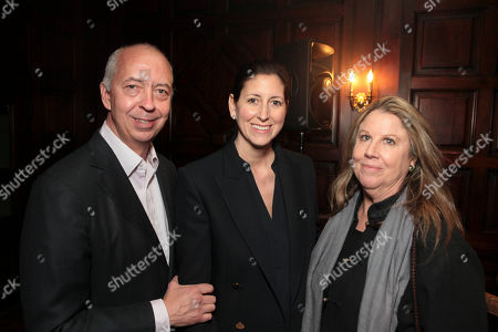 Stock Image of From left, Benedikt Taschen, Lauren Taschen and Wendy Stark Morrisey pose during The Un-Private Collection: Jeff Koons and John Waters, an art talk co-presented by The Broad museum and the Library Foundation of Los Angeles's ALOUD series and held at the Orpheum Theatre on in Los Angeles, Calif