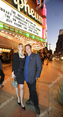 From left, Kelly Berg and Andy Moses pose during The Un-Private Collection: Jeff Koons and John Waters, an art talk co-presented by The Broad museum and the Library Foundation of Los Angeles's ALOUD series and held at the Orpheum Theatre on in Los Angeles, Calif