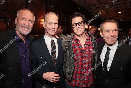 Stock Picture of From left, Greg Gorman, John Waters, Johnny Knoxville and Jeff Koons pose during The Un-Private Collection: Jeff Koons and John Waters, an art talk co-presented by The Broad museum and the Library Foundation of Los Angeles's ALOUD series and held at the Orpheum Theatre on in Los Angeles, Calif