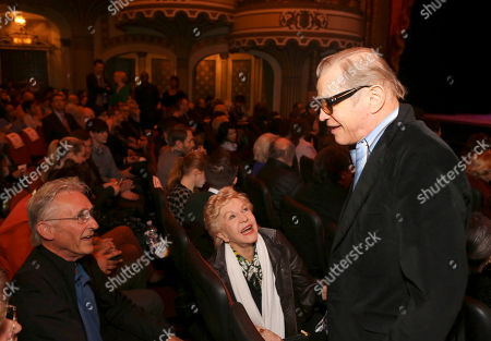 From left, Ed Ruscha, Pat York and actor Michael York talk during The Un-Private Collection: Jeff Koons and John Waters, an art talk co-presented by The Broad museum and the Library Foundation of Los Angelesâ?™s ALOUD series and held at the Orpheum Theatre on in Los Angeles, Calif