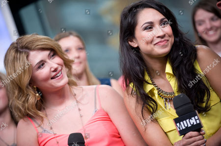 """Stock Picture of Jewel Staite and Cassie Steele visit New.Music.Live. at the MuchMusic HQ to promote the second season of """"The L.A. Complex"""", in Toronto"""