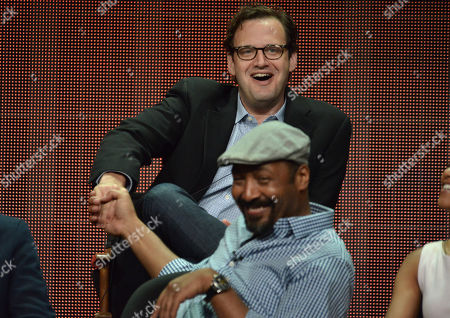 """Executive Producer Andrew Kreisberg and Jesse L. Martin speak on stage during the """"The Flash"""" panel at the The CW 2014 Summer TCA held at the Beverly Hilton Hotel, in Beverly Hills, Calif"""
