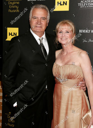 John McCook, left, and Laurette Spang arrive at the 39th Annual Daytime Emmy Awards on HLN at the Beverly Hilton Hotel on in Beverly Hills, Calif