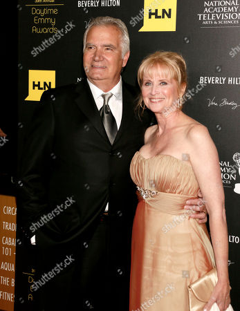 Stock Picture of John McCook, left, and Laurette Spang arrive at the 39th Annual Daytime Emmy Awards on HLN at the Beverly Hilton Hotel on in Beverly Hills, Calif