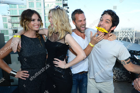 From left, Shelley Hennig, Kristin Bauer, JR Bourne, Tyler Posey, and Tyler Hoechlin attend The Flash Bash with BuzzFeed & The CW at the Marriott Gaslamp Quarter on in Sand Diego