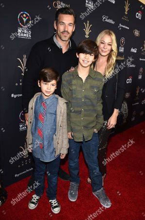Stock Image of Eddie Cibrian, and from left, Jake Cibrian, Mason Cibrian, and LeAnn Rimes arrive at The Grove's 12th Annual Christmas Tree Lighting Spectacular Presented By Citi at The Grove on in Los Angeles, California