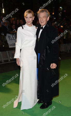 Stock Photo of Cate Blanchett and Sir Ian McKellan seen at the UK premiere of The Hobbit: An Unexpected Journey at The Odeon Leicester Square, in London