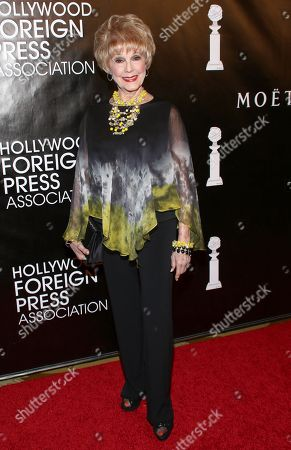 Karen Sharpe arrives at The Hollywood Foreign Press Association's Annual Grants Banquet at the Beverly Wilshire hotel, in Beverly Hills, Calif