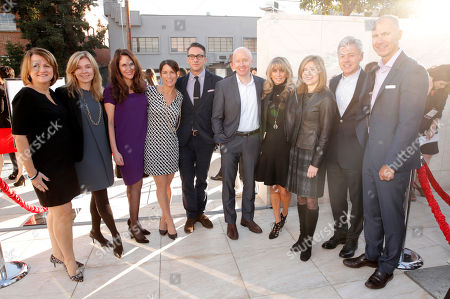 Sandy Wax, and from left, Liz Mahaffey, Catherine Dunleavy, Cheryl Rosenbloom, Adam Stotsky, Chris McCumber, Bonnie Hammer, Frances Berwick, Cory Shield, and David Howe arrive at a celebration of The Hollywood Reporter's Power 100 Women in Entertainment breakfast at Milk Studios, in Los Angeles
