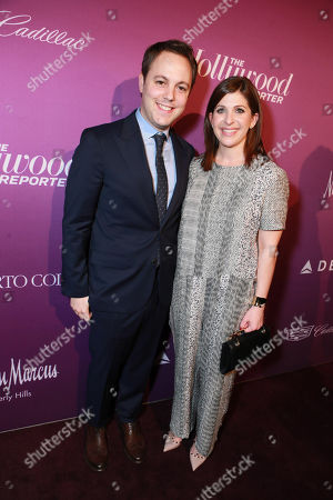 Ido Ostrowsky, left, and Nora Grossman arrive at The Hollywood Reporter Nominees Night presented by Cadillac, with Delta, Roberto Coin, and Neiman Marcus Beverly Hills at Spago on Mon., in Beverly Hills, Calif