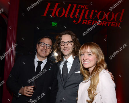 From left, David O Russell, Crispin Struthers and Jennifer Sapanski attend The Hollywood Reporter Nominees Night presented by Cadillac, Bing, Delta, Pandora jewelry, Qua, and Zenith, at Spago, in Beverly Hills, Calif