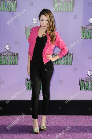 "Stock Image of Saige Ryan Campbell arrives at ""Hub Network's First Annual Halloween Bash"", at the Barker Hanger in Santa Monica, Calif. The star-studded special will be broadcasted on the Hub Network on Saturday Oct. 26, 2013"