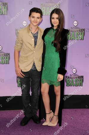 """Stock Picture of Fallon Smythe, right, and guest arrive at """"Hub Network's First Annual Halloween Bash"""", at the Barker Hanger in Santa Monica, Calif. The star-studded special will be broadcasted on the Hub Network on Saturday Oct. 26, 2013"""