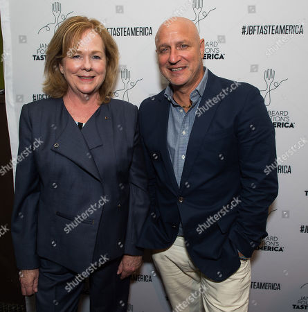 Susan Ungaro, left, and Tom Colicchio attend the kick-off event for the James Beard Foundation's Taste America's 10-city national tour, held at the James Beard House in New York City