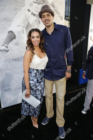 Gloria Govan and Matt Barnes at The Los Angeles Premiere of Warner Bros. Pictures' and Legendary Pictures' 42, on Tuesday, April, 9th, 2013 in Los Angeles