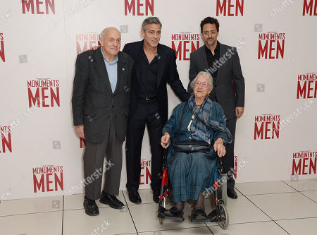 """L-R) Harry Ettlinger, George Clooney, Olivier Bell and Grant Heslov attending the UK Premiere of """"The Monuments Men"""" - Inside Arrivals at the Odeon,Leicester Square in London on Tuesday 11 February, 2014"""