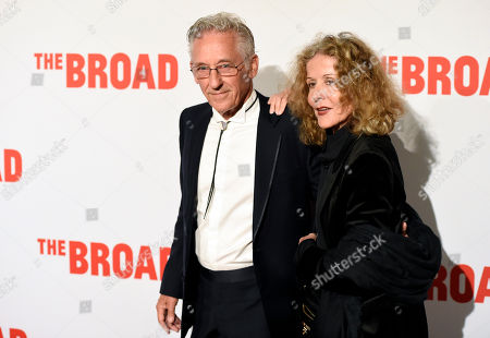 Artist Ed Ruscha and his wife Danna pose together at The Broad museum's opening and inaugural dinner, in Los Angeles