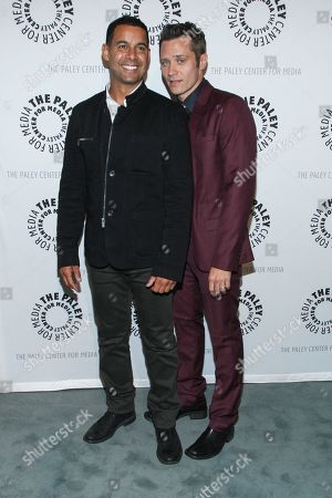 """From left, actors Jon Huertas and Seamus Dever arrive at the The Paley Center For Media presents The Wait Is Over: """"Castle"""" is Back on in Beverly Hills, Calif"""