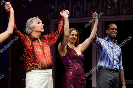 "Henry Winkler, from left, Alicia Silverstone and Daniel Breaker appear at the curtain call for the opening night performance of the Broadway play ""The Performers"" on in New York"