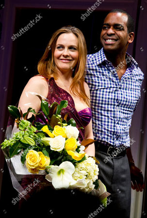 "Alicia Silverstone and Daniel Breaker appear at the curtain call for the opening night performance of the Broadway play ""The Performers"" on in New York"