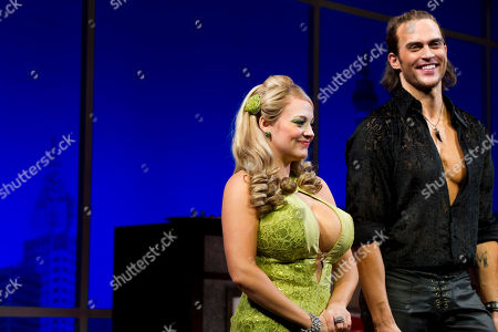 """Jenni Barber and Cheyenne Jackson appear at the curtain call for the opening night performance of the Broadway play """"The Performers"""" on in New York"""