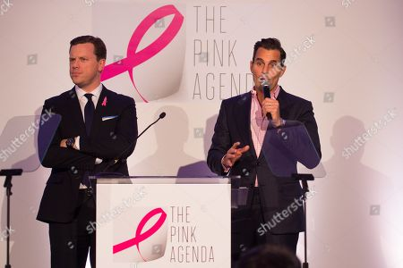 Willie Geist, left, and Bill Rancic are seen on stage at The Pink Agenda's annual benefit gala at Three Sixty, in New York