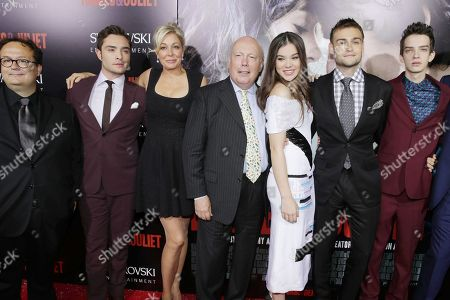 From left, director Carlo Carlei, Ed Westwick, producer Nadja Swarovski, screenwriter Julian Fellowes, Hailee Steinfeld, Douglas Booth and Kodi Smit-McPhee attend the premiere of Swarovski Entertainment's first film ROMEO & JULIET, distributed by Relativity Media and in theaters nationwide October 11th on in Hollywood, Calif