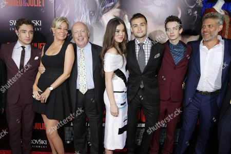 From left, Ed Westwick, producer Nadja Swarovski, screenwriter Julian Fellowes, Hailee Steinfeld, Douglas Booth, Kodi Smit-McPhee and producer Lawrence Elman attend the premiere of Swarovski Entertainmentâ?™s first film ROMEO & JULIET, distributed by Relativity Media and in theaters nationwide October 11th on in Hollywood, Calif