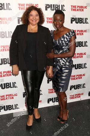 """Liesl Tommy, left, and Danai Gurira attend the opening night celebration of """"Eclipsed"""" at The Public Theater, in New York"""
