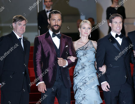 Stock Image of From left, Gus Van Sant, Matthew McConnaughey, Naomi Watts, Chris Sparling and guests pose for photographers upon arrival for the screening of the film The Sea of Trees at the 68th international film festival, Cannes, southern France