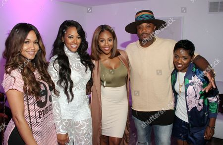 """Stock Image of From left, Rosa Acosta, Malaysia Pargo, Miss Diddy, Sincere Show and rapper Bre-Z seen at The Shade Room's """"Shades of Eden"""" 1st Anniversary Celebration at a private mansion on Saturday, June 4th, 2016, in Los Angeles, California"""