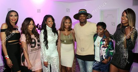 """From left, Rhonda Willis, Rosa Acosta, Malaysia Pargo, Miss Diddy, Sincere Show, rapper Bre-Z and Brandi Maxiell seen at The Shade Room's """"Shades of Eden"""" 1st Anniversary Celebration at a private mansion on Saturday, June 4th, 2016, in Los Angeles, California"""