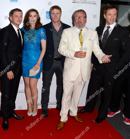 Nick Love, Ben Drew, Hayley Atwell, Steve Waddington, Ray Winstone, Damian Lewis poses at The Sweeney UK Premiere at Vue West End on in London