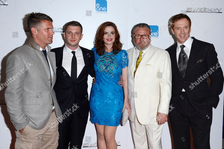 Nick Love, Ben Drew, Hayley Atwell, Ray Winstone, Damian Lewis poses at The Sweeney UK Premiere at Vue West End on in London