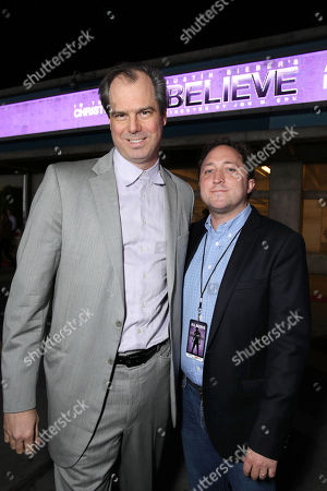 """Bill O'Dowd, CEO, Dolphin Entertainment, and Scott Manson, chief operating officer of Scooter Braun Projects, seen at the World Premiere of Open Road's """"Justin Bieber's Believe"""" presented by Teen Vogue and sponsored by Clearasil, on in Los Angeles"""