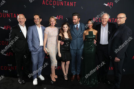 """J.K. Simmons, Greg Silverman, President of Creative Development and Worldwide Production for Warner Bros. Pictures, Producer Lynette Howell Taylor, Anna Kendrick, Ben Affleck, Cynthia Addai-Robinson, John Lithgow and Director/Executive Producer Gavin O'Connor seen at the Los Angeles World Premiere of Warner Bros. Pictures' """"The Accountant"""" to benefit the American Film Institute at the TCL Chinese Theater, in Los Angeles"""